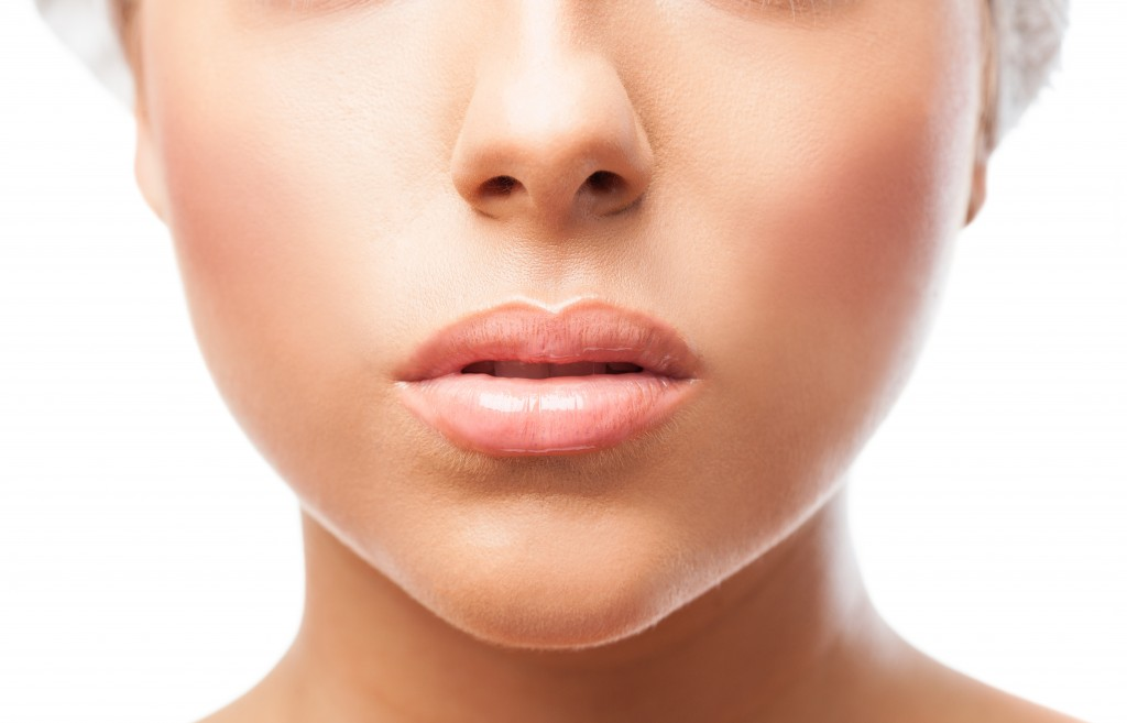 closeup of a cute young woman lips